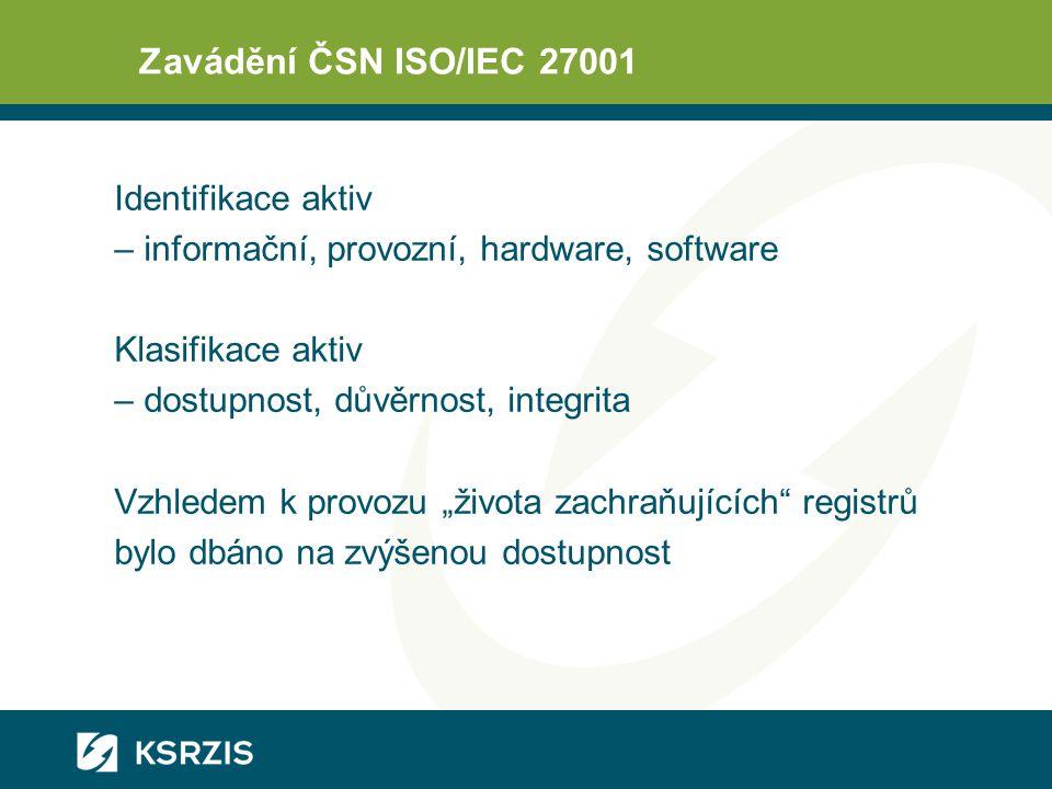 Zavádění ČSN ISO/IEC 27001 Identifikace aktiv