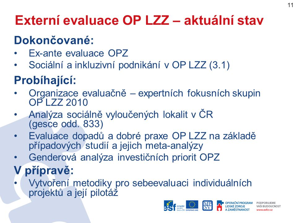Externí evaluace OP LZZ – aktuální stav