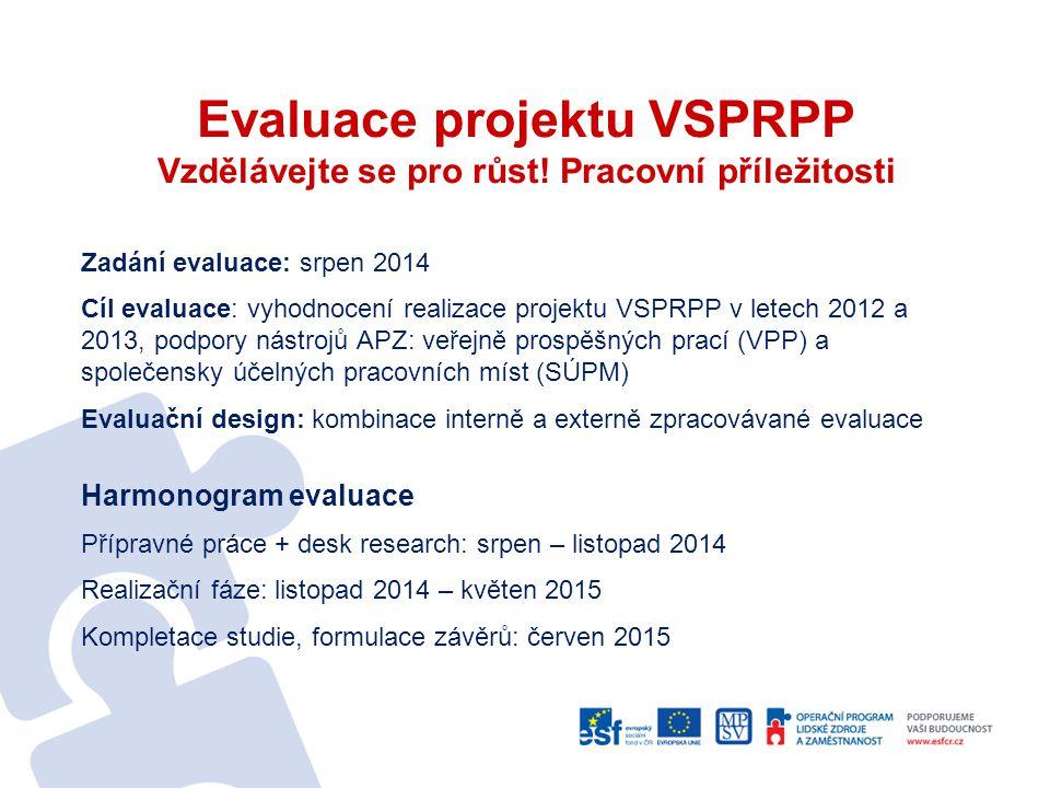 Evaluace projektu VSPRPP Vzdělávejte se pro růst! Pracovní příležitosti