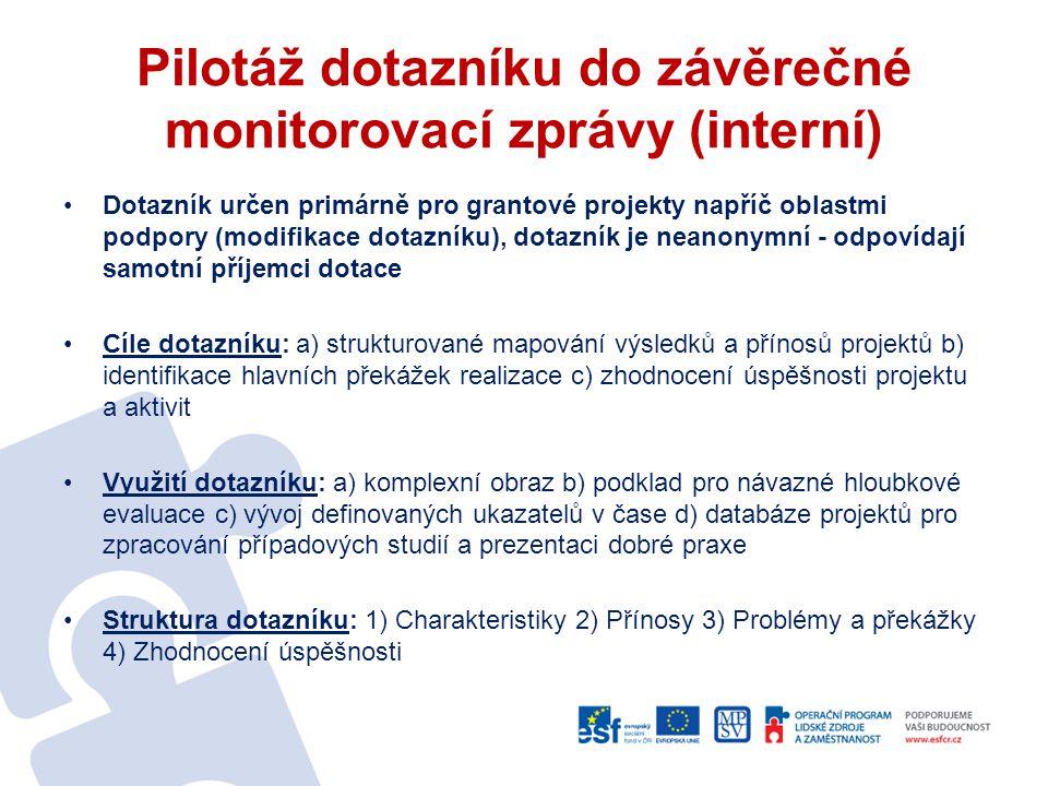 Pilotáž dotazníku do závěrečné monitorovací zprávy (interní)
