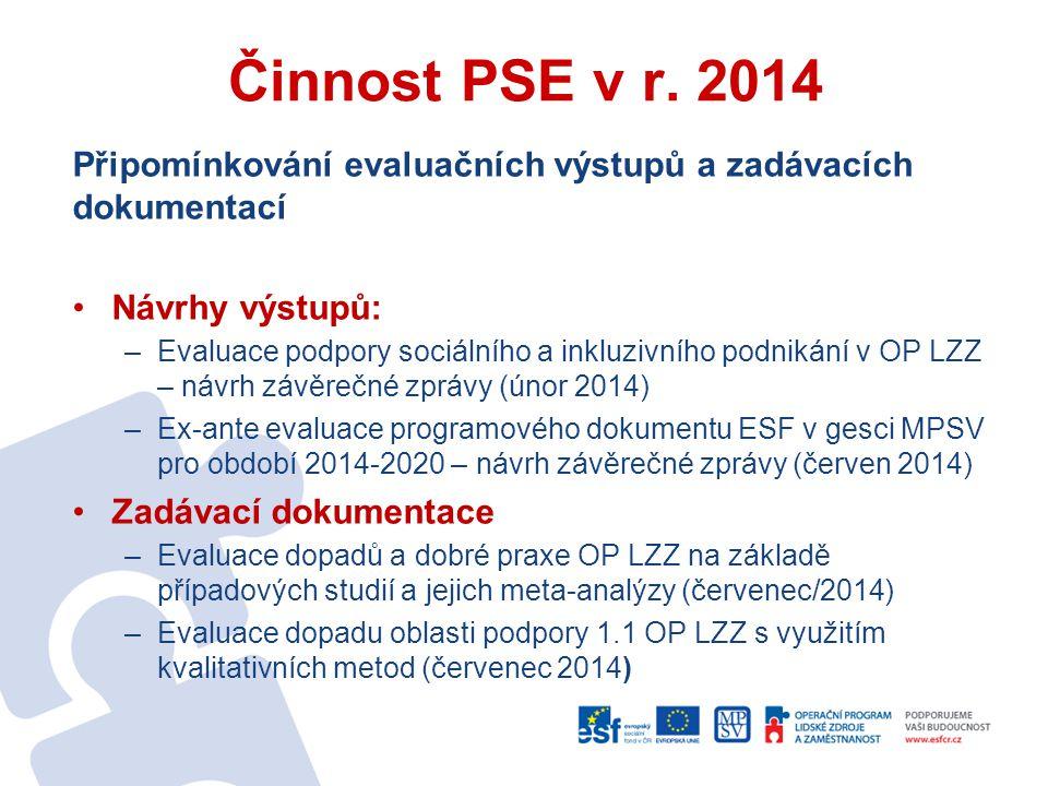 Činnost PSE v r. 2014 Připomínkování evaluačních výstupů a zadávacích dokumentací. Návrhy výstupů: