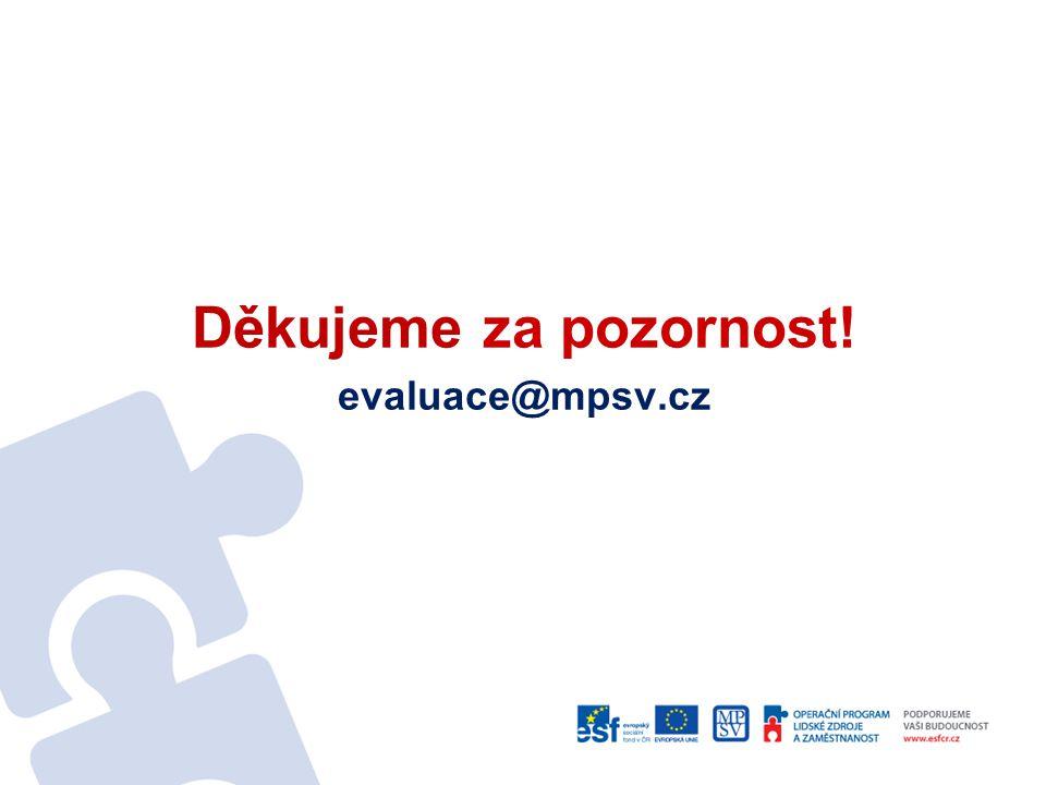 Děkujeme za pozornost! evaluace@mpsv.cz