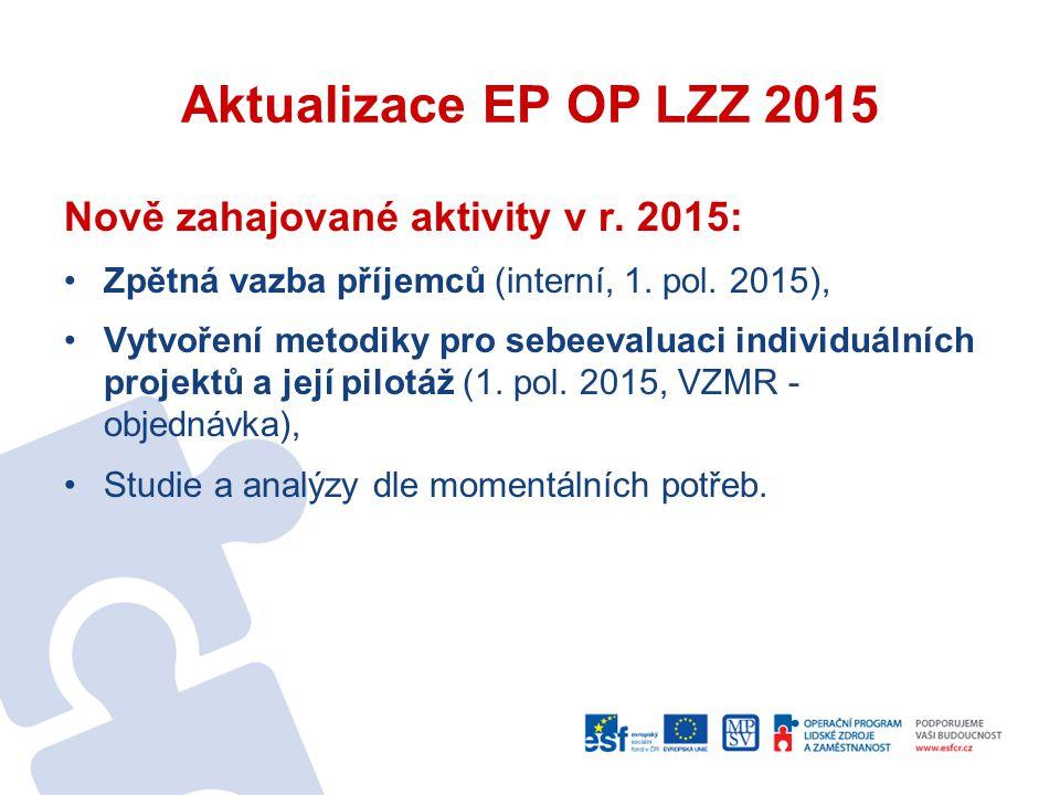 Aktualizace EP OP LZZ 2015 Nově zahajované aktivity v r. 2015: