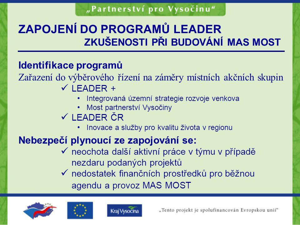 ZAPOJENÍ DO PROGRAMŮ LEADER