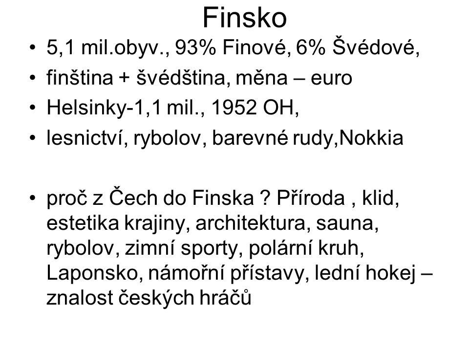 Finsko 5,1 mil.obyv., 93% Finové, 6% Švédové,