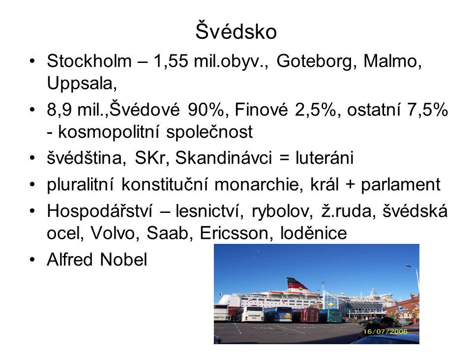 Švédsko Stockholm – 1,55 mil.obyv., Goteborg, Malmo, Uppsala,