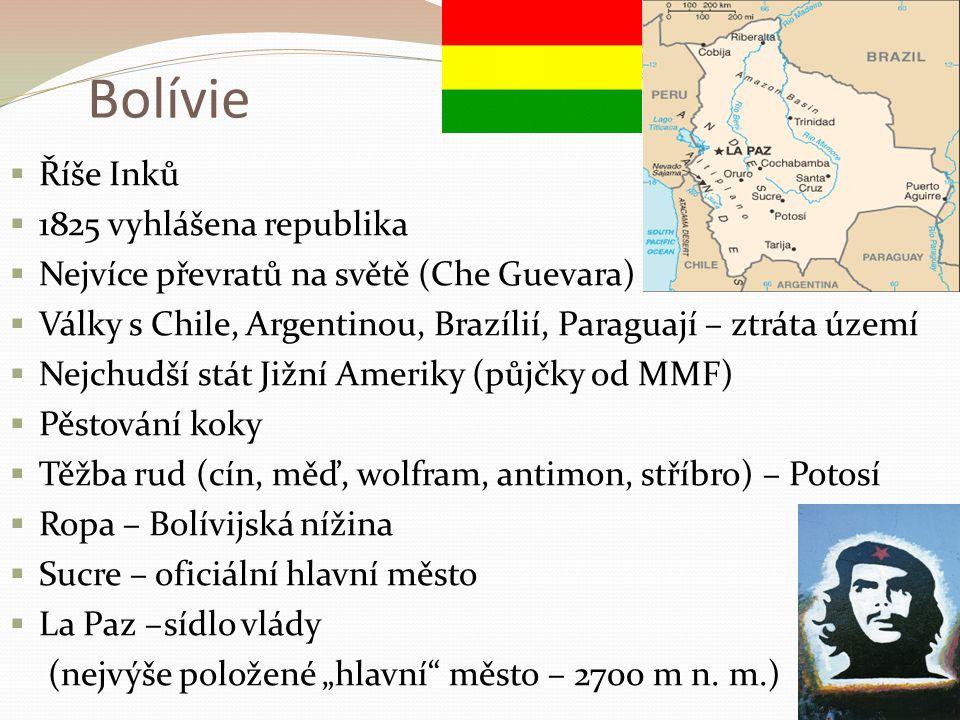 Bolívie Říše Inků 1825 vyhlášena republika