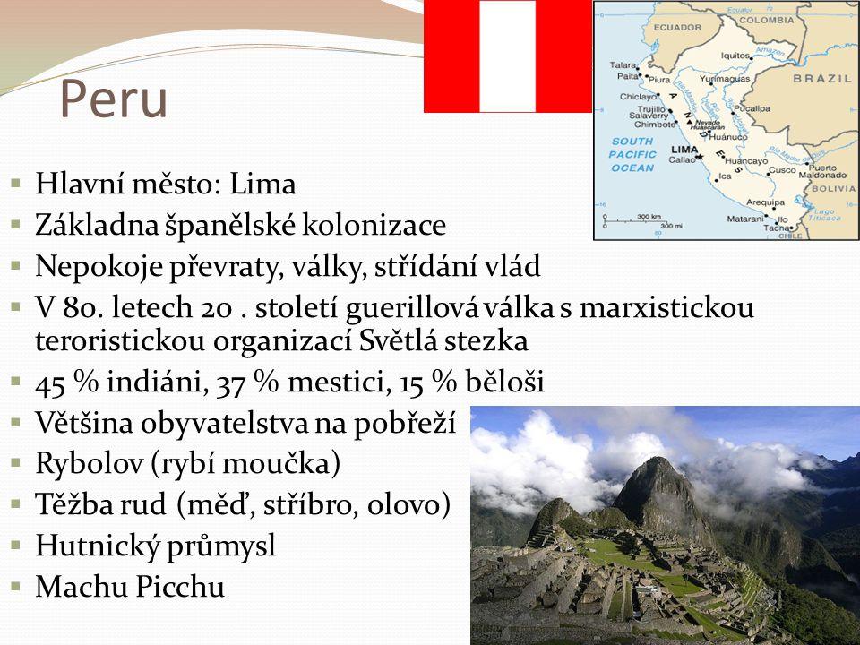 Peru Hlavní město: Lima Základna španělské kolonizace