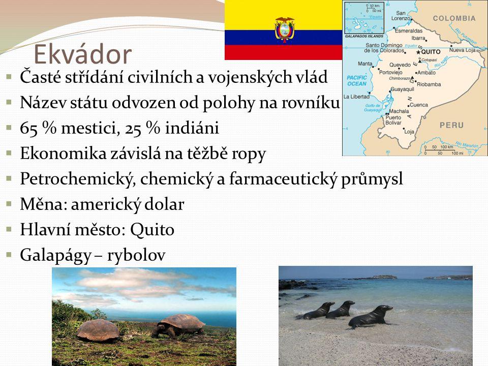Ekvádor Časté střídání civilních a vojenských vlád