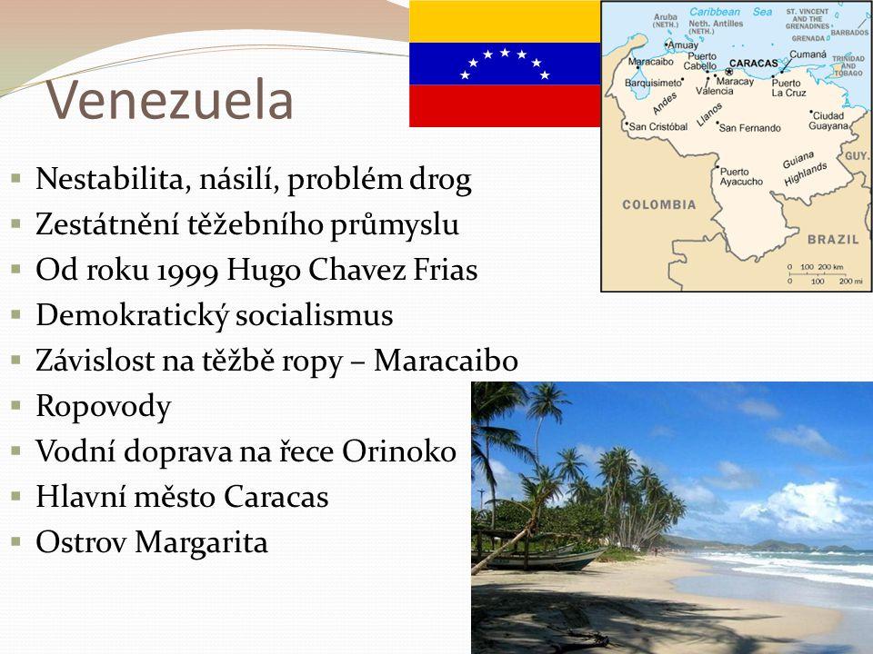 Venezuela Nestabilita, násilí, problém drog