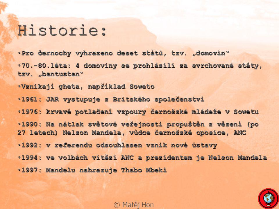 """Historie: Pro černochy vyhrazeno deset států, tzv. """"domovin"""