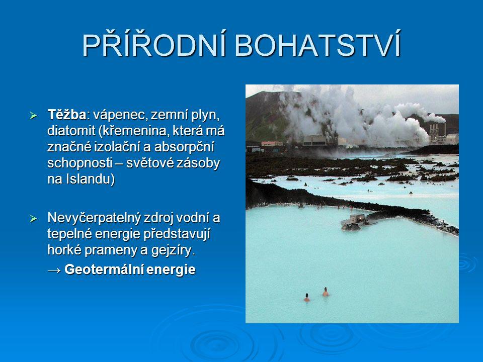 PŘÍŘODNÍ BOHATSTVÍ Těžba: vápenec, zemní plyn, diatomit (křemenina, která má značné izolační a absorpční schopnosti – světové zásoby na Islandu)