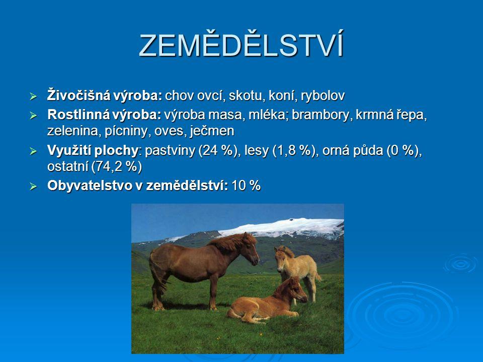 ZEMĚDĚLSTVÍ Živočišná výroba: chov ovcí, skotu, koní, rybolov
