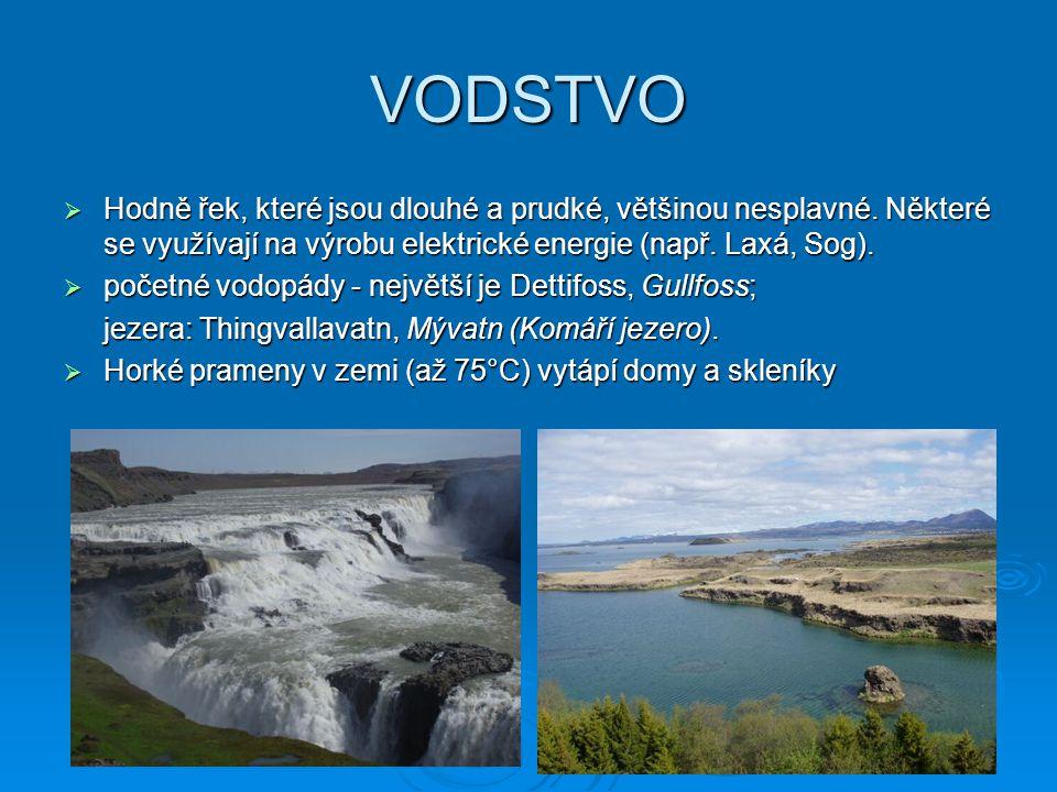 VODSTVO Hodně řek, které jsou dlouhé a prudké, většinou nesplavné. Některé se využívají na výrobu elektrické energie (např. Laxá, Sog).