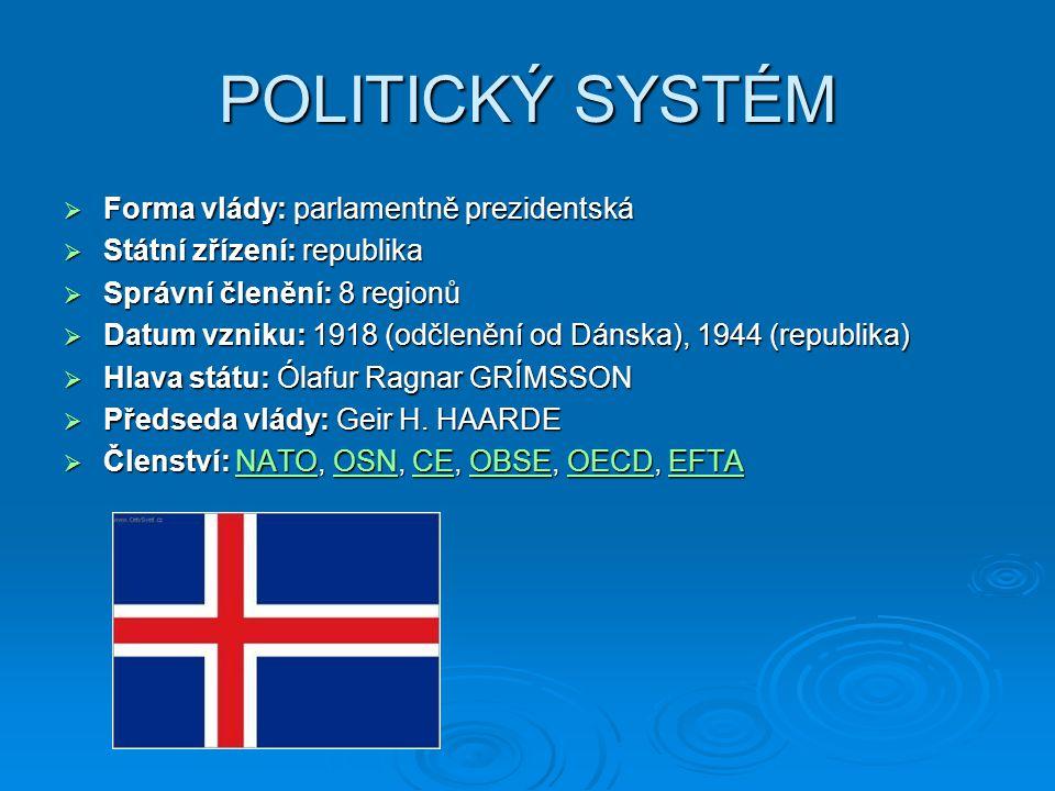 POLITICKÝ SYSTÉM Forma vlády: parlamentně prezidentská
