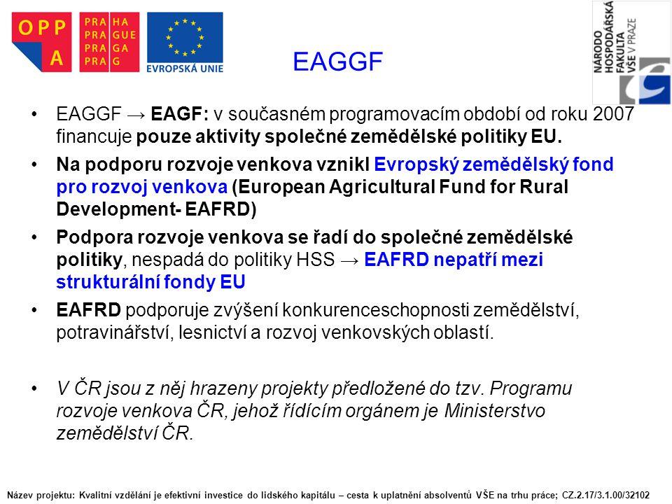 EAGGF EAGGF → EAGF: v současném programovacím období od roku 2007 financuje pouze aktivity společné zemědělské politiky EU.
