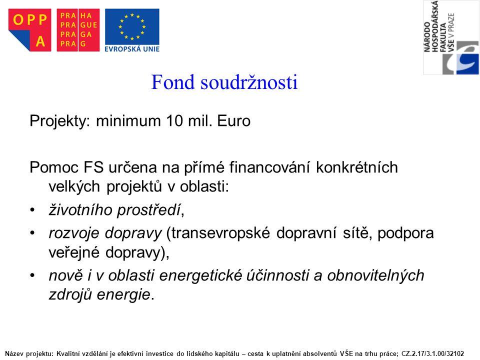 Fond soudržnosti Projekty: minimum 10 mil. Euro