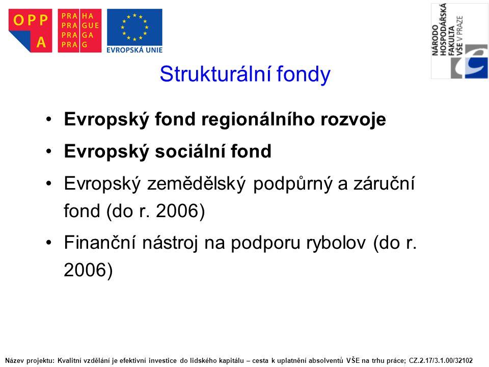 Strukturální fondy Evropský fond regionálního rozvoje