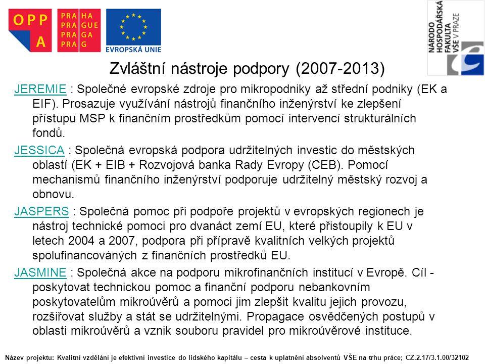 Zvláštní nástroje podpory (2007-2013)