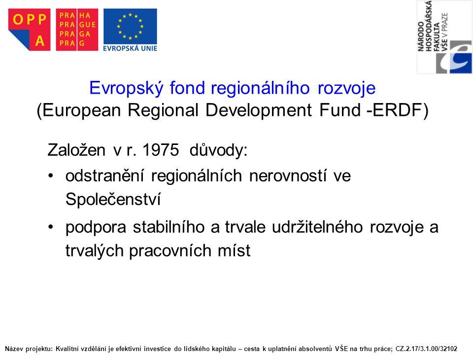 Evropský fond regionálního rozvoje (European Regional Development Fund -ERDF)