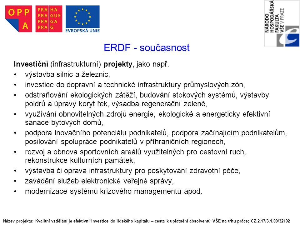 ERDF - současnost Investiční (infrastrukturní) projekty, jako např.
