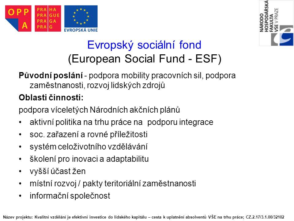 Evropský sociální fond (European Social Fund - ESF)