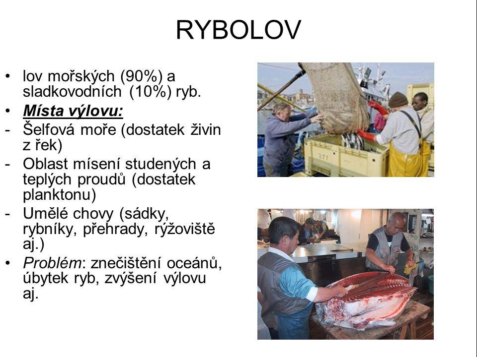 RYBOLOV lov mořských (90%) a sladkovodních (10%) ryb. Místa výlovu: