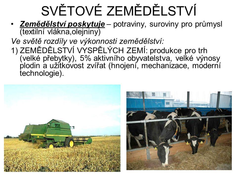 SVĚTOVÉ ZEMĚDĚLSTVÍ Zemědělství poskytuje – potraviny, suroviny pro průmysl (textilní vlákna,olejniny)