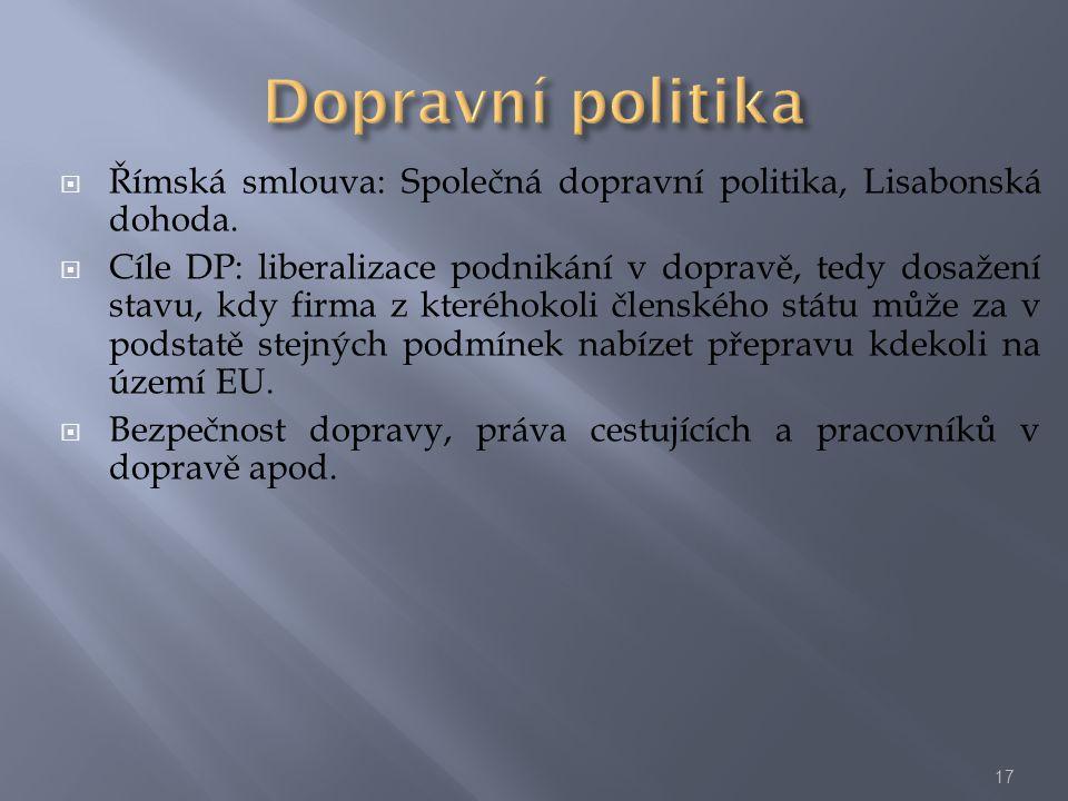 Dopravní politika Římská smlouva: Společná dopravní politika, Lisabonská dohoda.