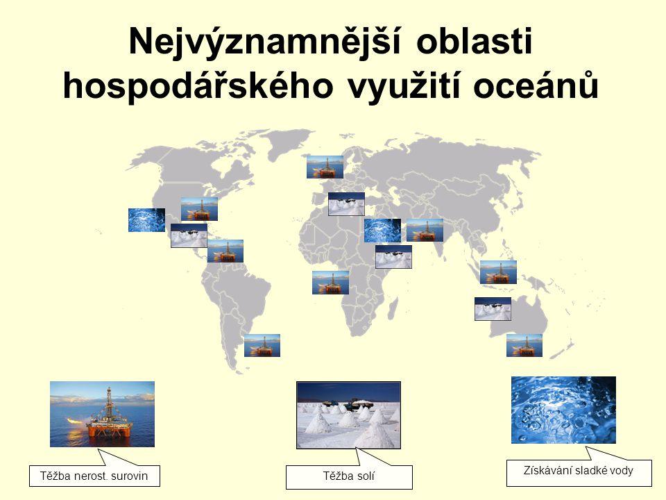 Nejvýznamnější oblasti hospodářského využití oceánů