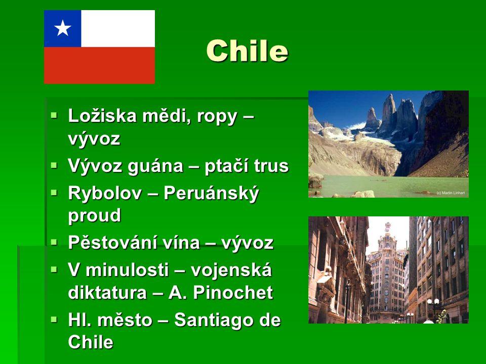 Chile Ložiska mědi, ropy – vývoz Vývoz guána – ptačí trus