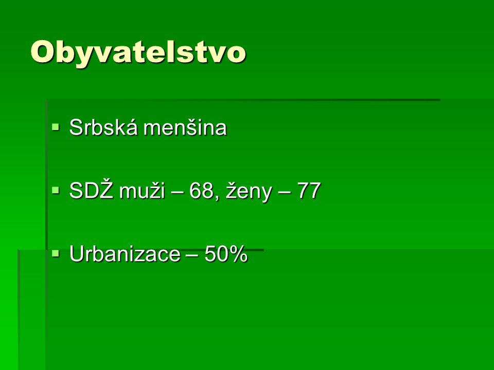 Obyvatelstvo Srbská menšina SDŽ muži – 68, ženy – 77 Urbanizace – 50%