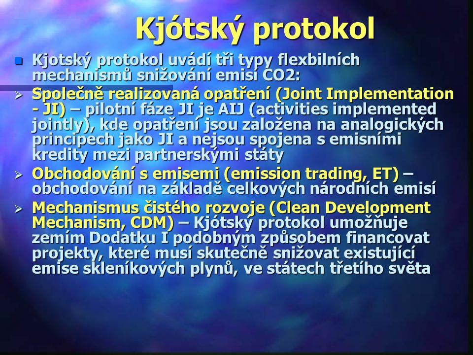 Kjótský protokol Kjotský protokol uvádí tři typy flexbilních mechanismů snižování emisí CO2: