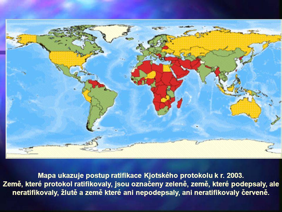 Mapa ukazuje postup ratifikace Kjotského protokolu k r. 2003.