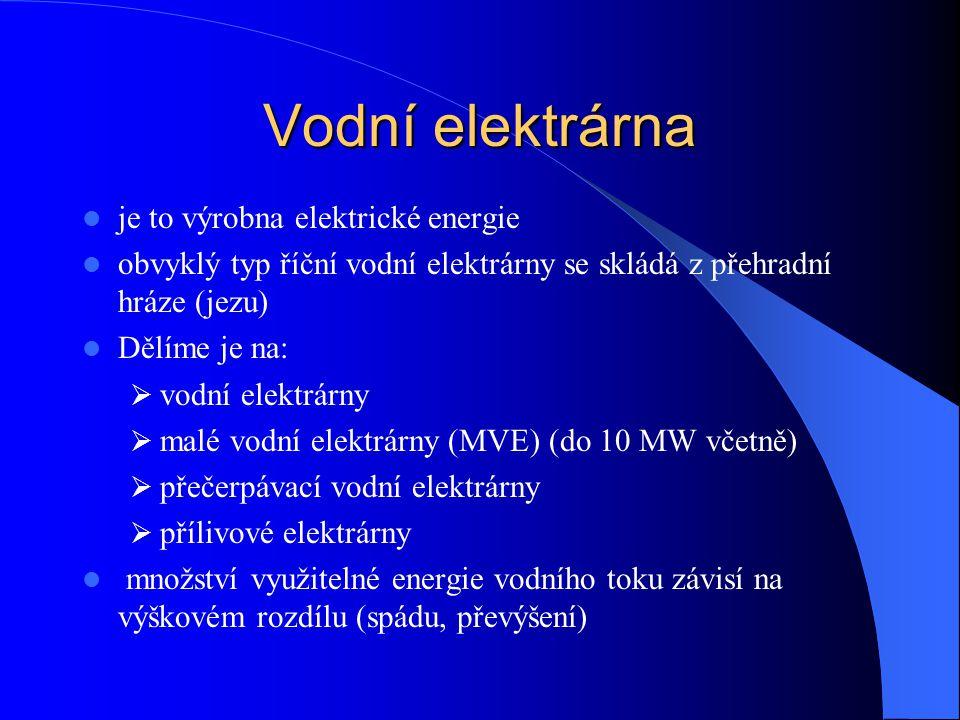 Vodní elektrárna je to výrobna elektrické energie