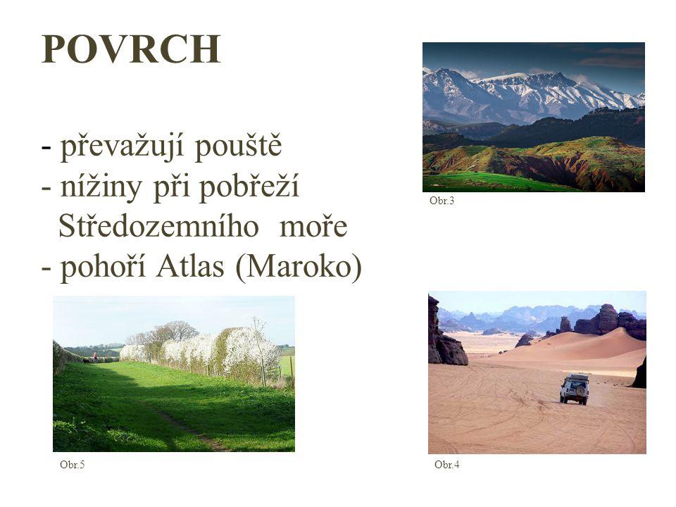 POVRCH - převažují pouště - nížiny při pobřeží Středozemního moře - pohoří Atlas (Maroko)