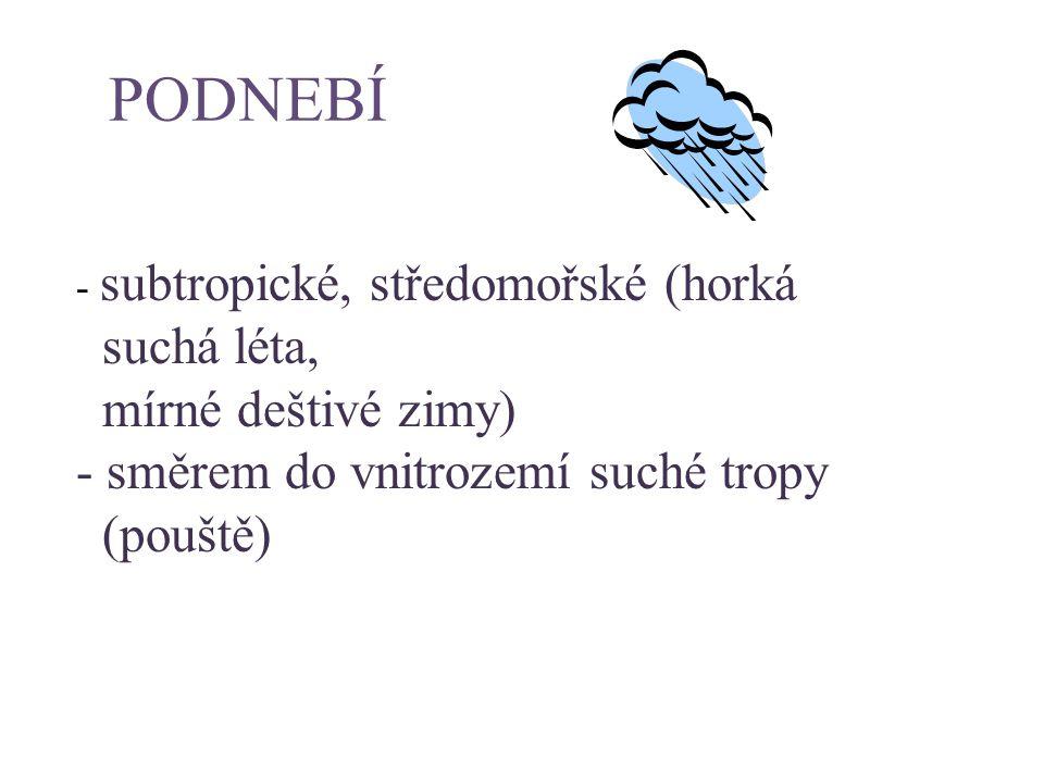 PODNEBÍ suchá léta, mírné deštivé zimy)