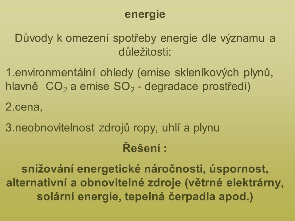 Důvody k omezení spotřeby energie dle významu a důležitosti: