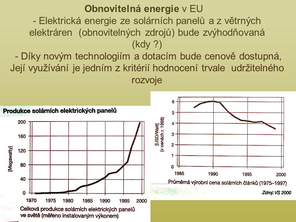 Obnovitelná energie v EU - Elektrická energie ze solárních panelů a z větrných elektráren (obnovitelných zdrojů) bude zvýhodňovaná (kdy ) - Díky novým technologiím a dotacím bude cenově dostupná, Její využívání je jedním z kritérií hodnocení trvale udržitelného rozvoje