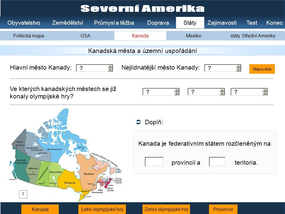 Severní Amerika Kanadská města a územní uspořádání