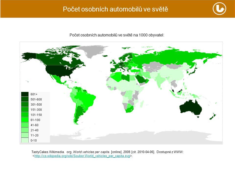 Počet osobních automobilů ve světě