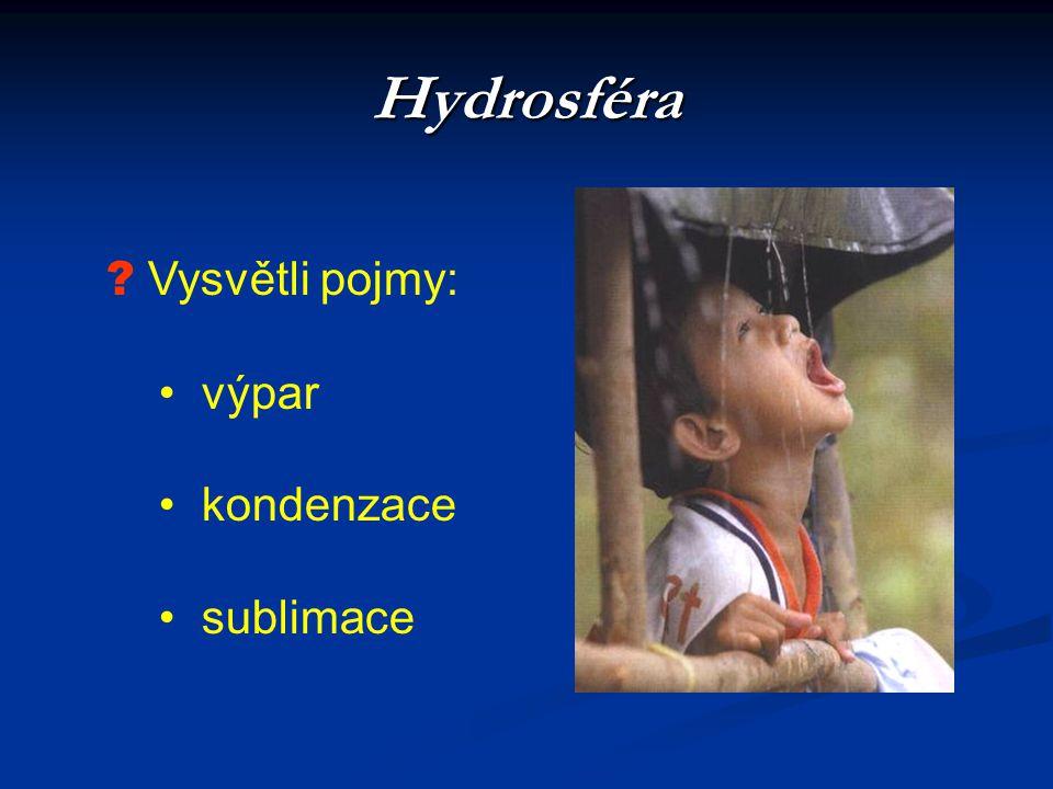 Hydrosféra Vysvětli pojmy: výpar kondenzace sublimace