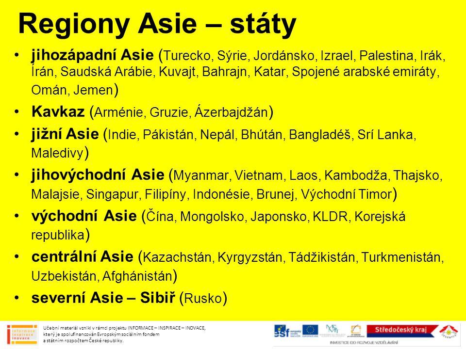 Regiony Asie – státy
