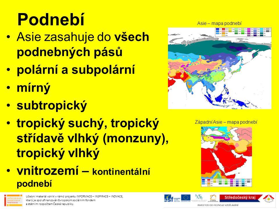 Podnebí Asie zasahuje do všech podnebných pásů polární a subpolární