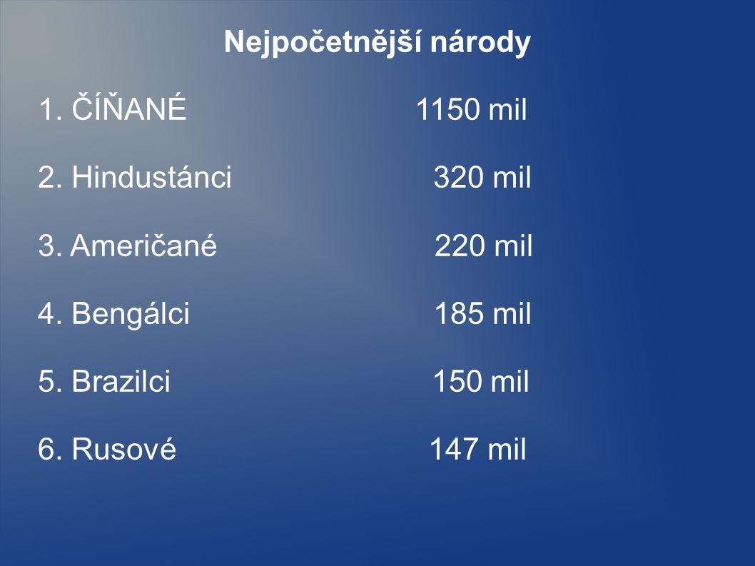 Nejpočetnější národy 1. ČÍŇANÉ 1150 mil. 2. Hindustánci 320 mil.