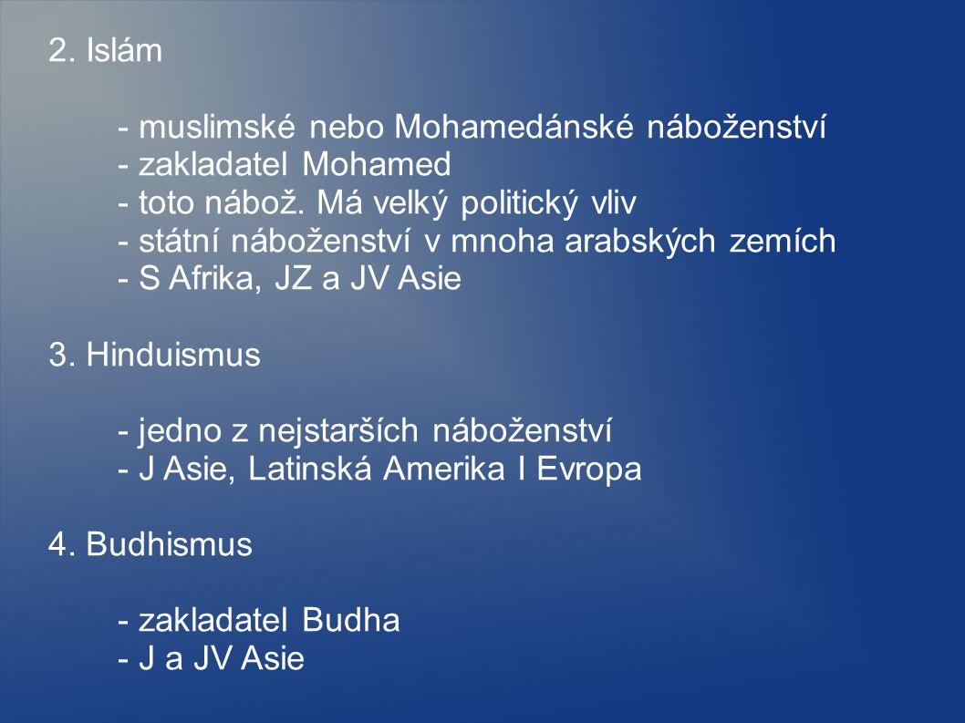 2. Islám - muslimské nebo Mohamedánské náboženství. - zakladatel Mohamed. - toto nábož. Má velký politický vliv.