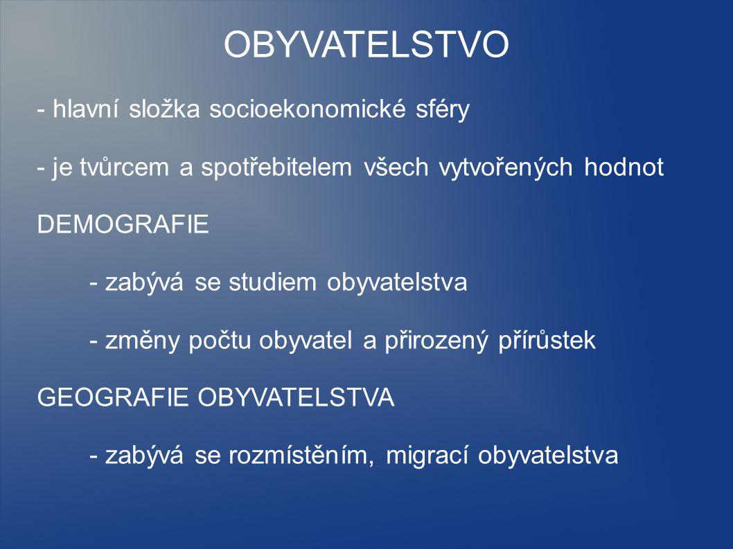 OBYVATELSTVO - hlavní složka socioekonomické sféry