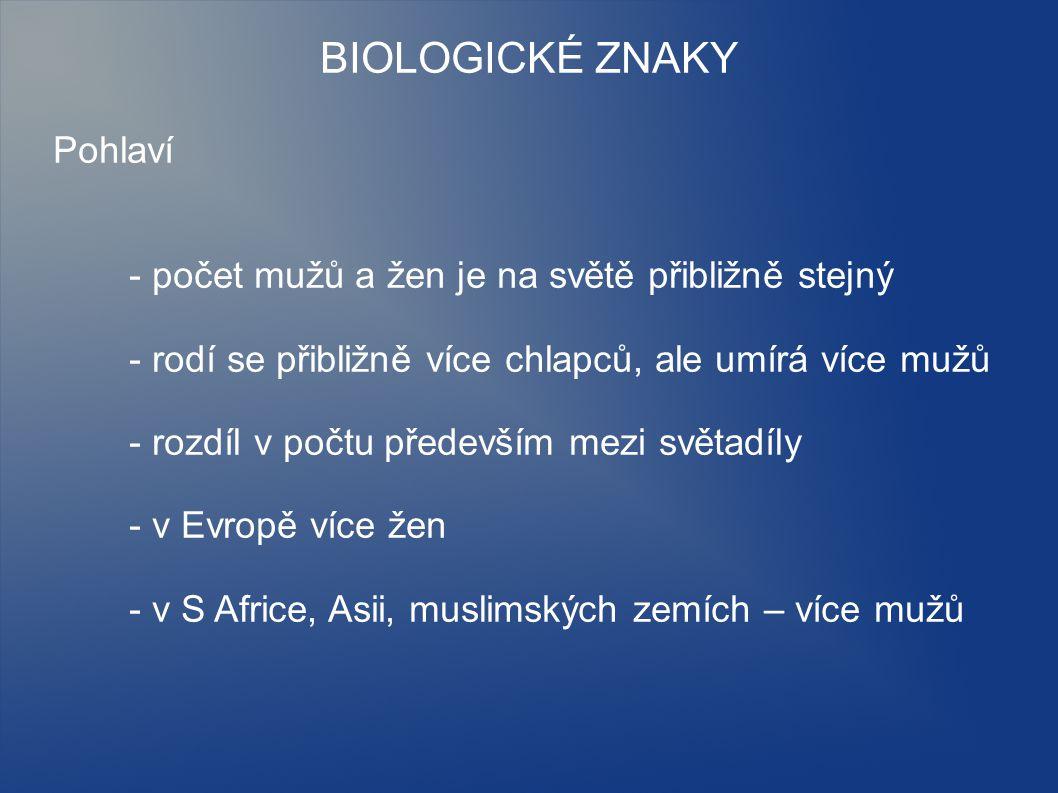 BIOLOGICKÉ ZNAKY Pohlaví