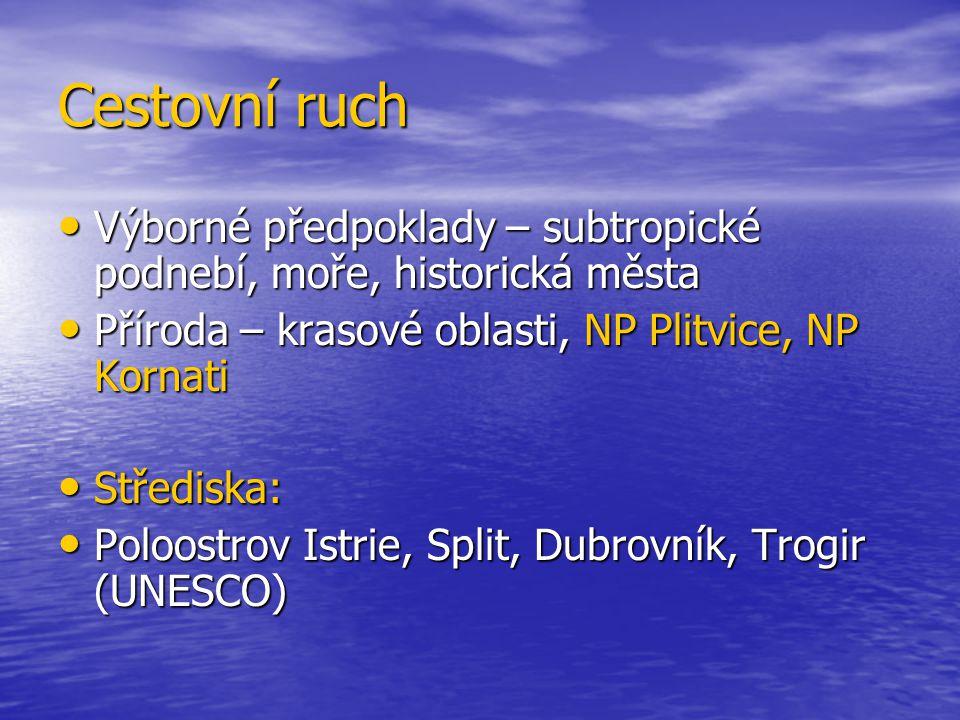 Cestovní ruch Výborné předpoklady – subtropické podnebí, moře, historická města. Příroda – krasové oblasti, NP Plitvice, NP Kornati.