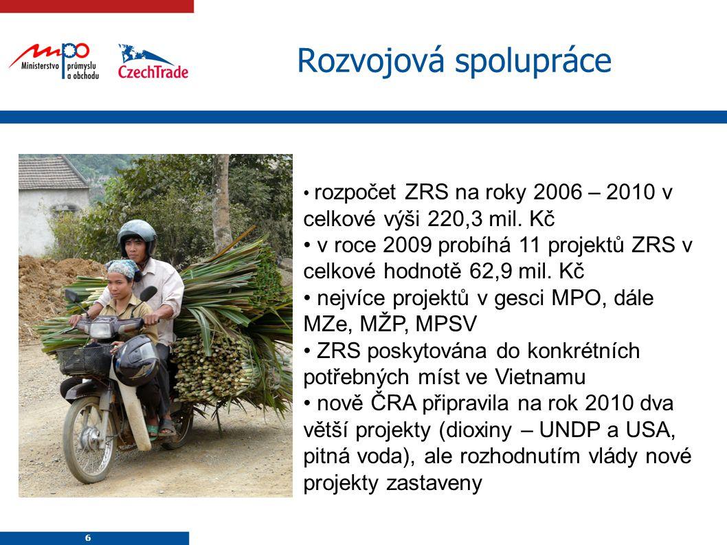 Rozvojová spolupráce rozpočet ZRS na roky 2006 – 2010 v celkové výši 220,3 mil. Kč.